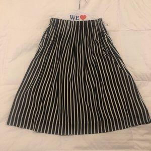 JCrew Navy & White MIDI-Skirt